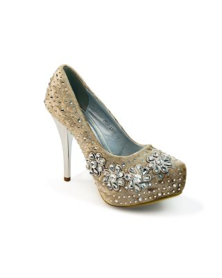 Ladies Silver Shiny High Heel Evening  Platform Diamante Pumps Court Shoes