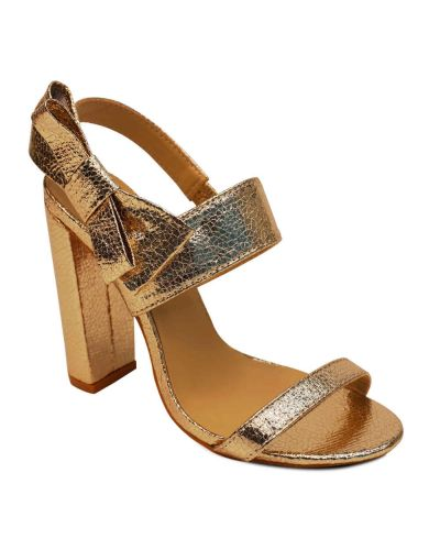 Women's Light 'Foil Gold' Shiny Block Heel Sandals